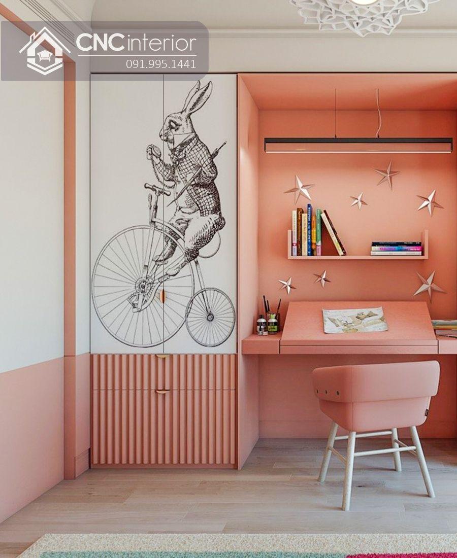 Tủ quần áo kết hợp bàn làm việc màu hồng CNC 25 1