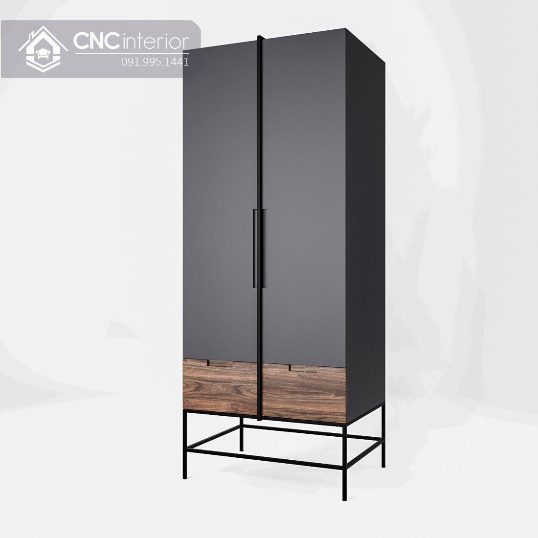 Tủ quần áo 2 cánh nhỏ gọn màu đen đẹp CNC 34