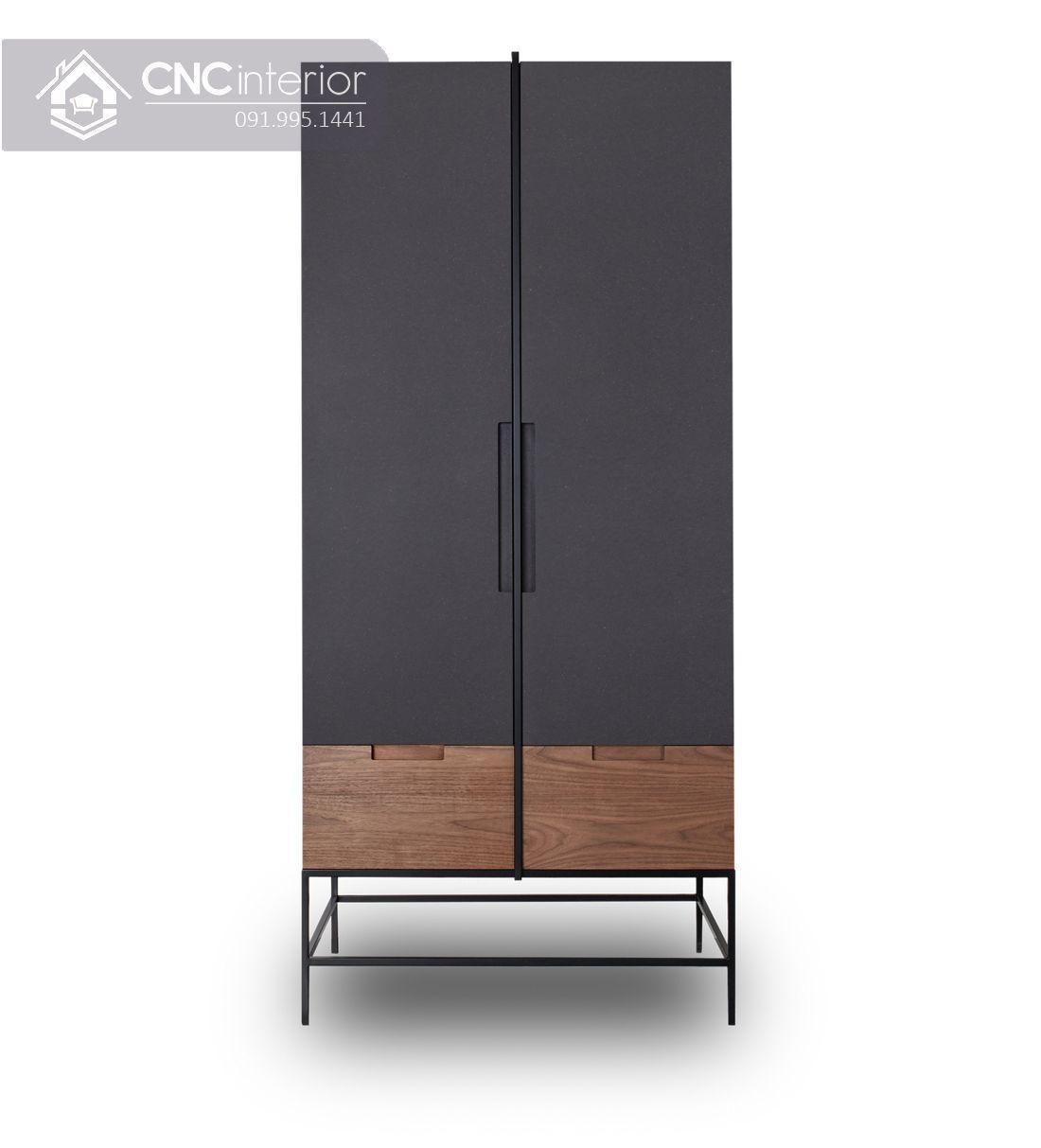 Tủ quần áo 2 cánh nhỏ gọn màu đen đẹp CNC 34 1