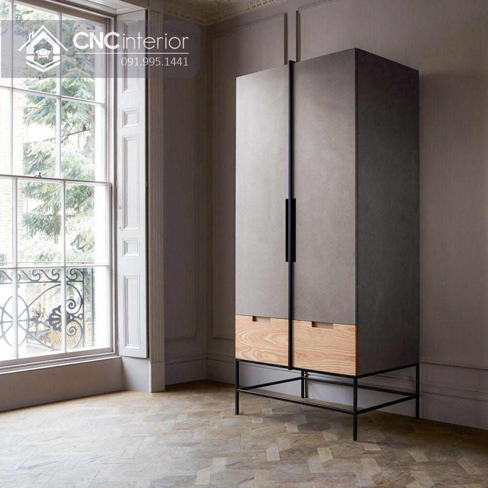 Tủ quần áo 2 cánh nhỏ gọn màu đen đẹp CNC 34 2