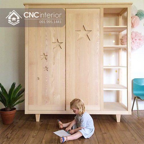 Tủ quần áo trẻ em bằng gỗ cnc 48