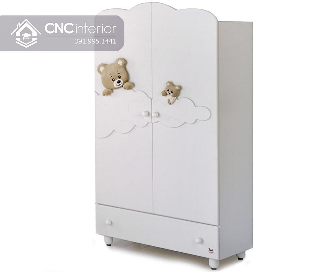 Tủ quần áo màu trắng cho em bé đẹp CNC 52 1
