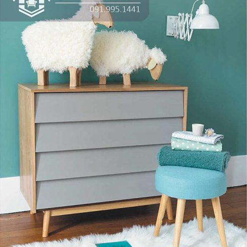 Tủ quần áo trẻ em bằng gỗ cnc 57
