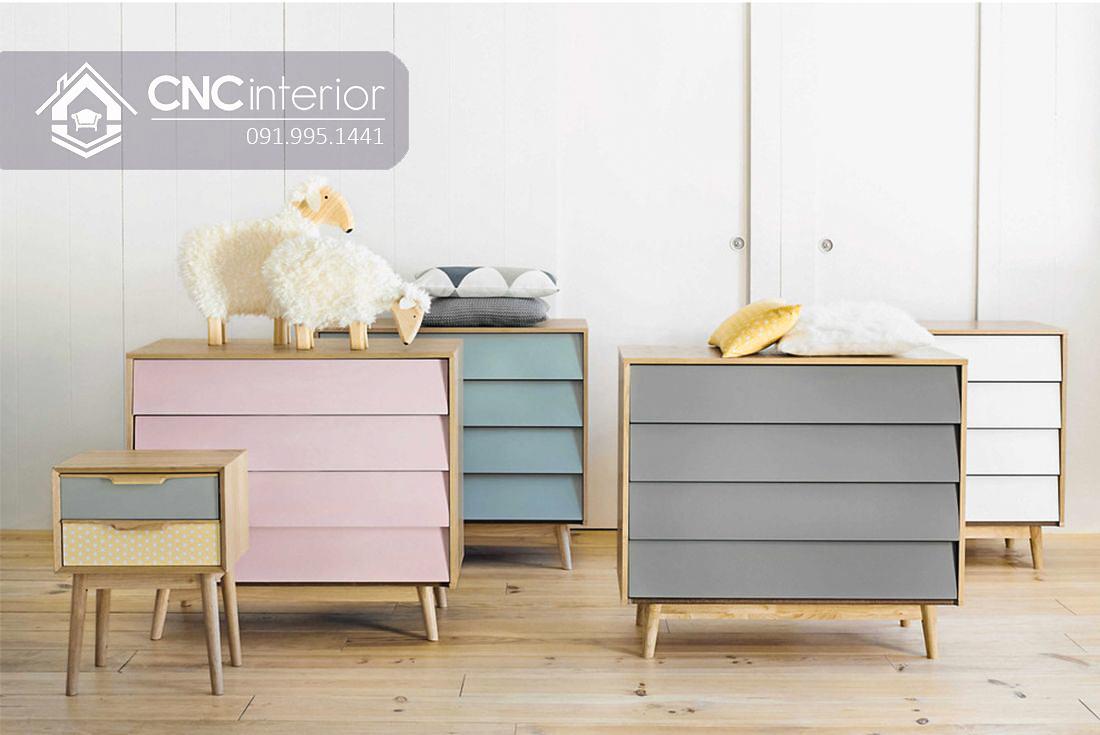 Tủ quần áo trẻ em bằng gỗ kiểu ngăn kéo CNC 57