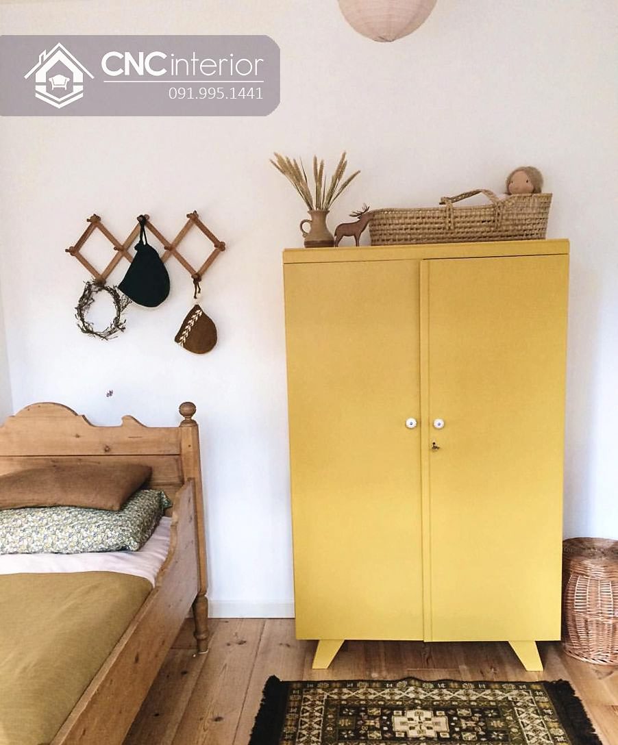 Tủ quần áo màu vàng đơn giản cho bé CNC 58 1