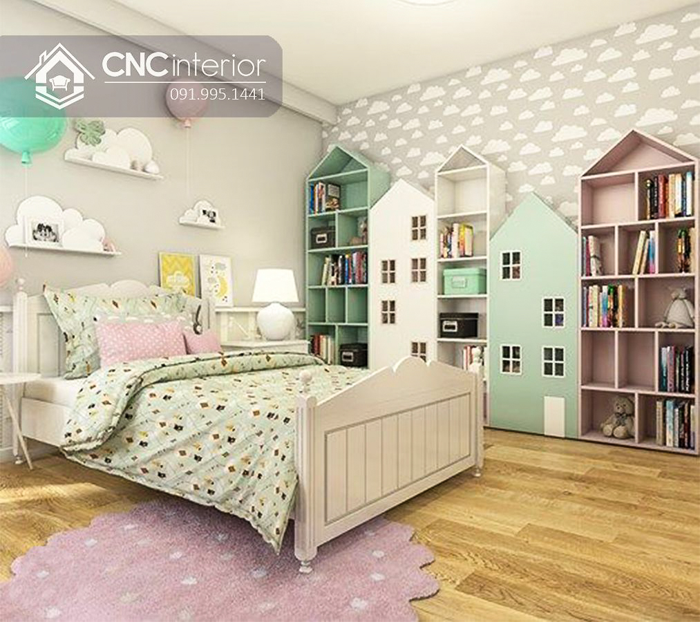 Tủ đồ em bé kết hợp kệ hình ngôi nhà CNC 59 2
