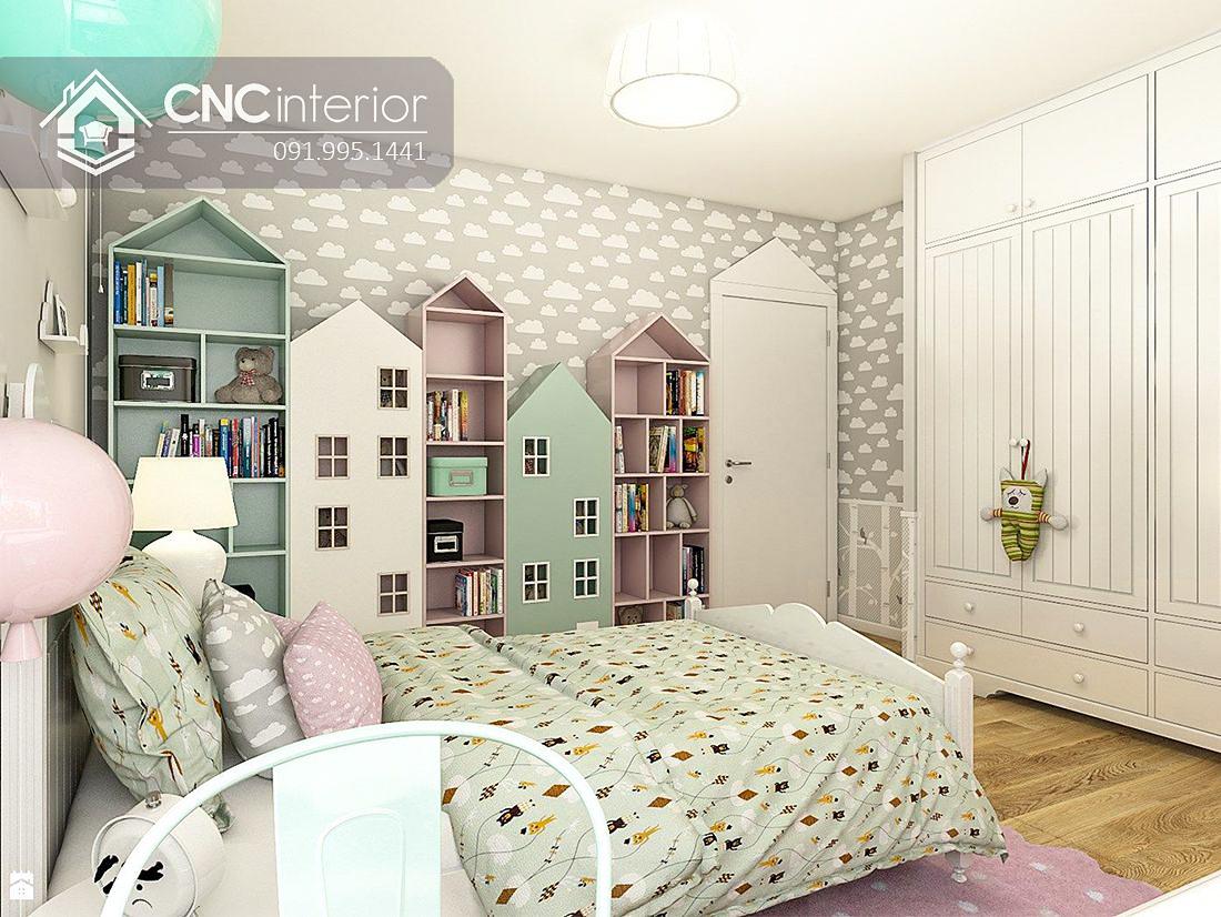Tủ đồ em bé kết hợp kệ hình ngôi nhà CNC 59