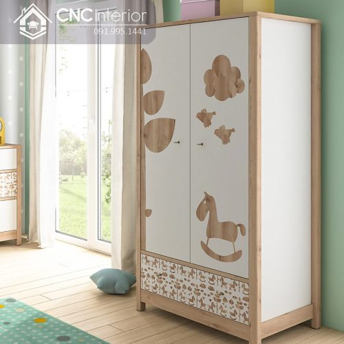 Tủ quần áo trẻ em bằng gỗ cnc 64