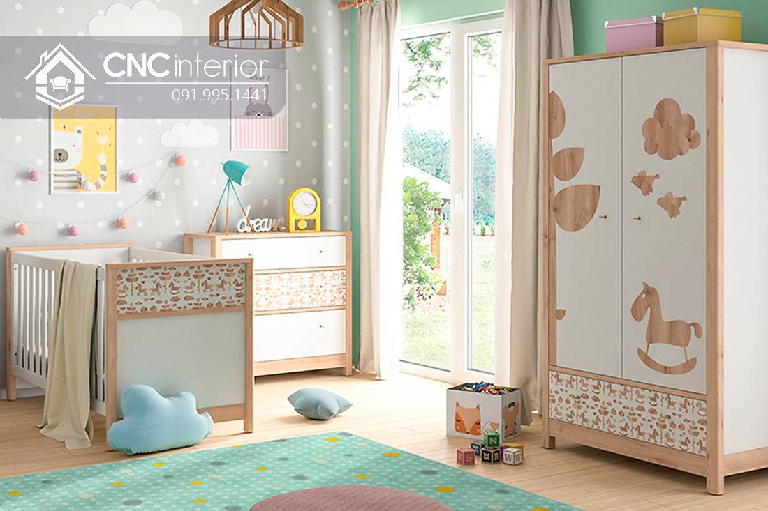 Tủ đồ em bé đẹp bằng gỗ công nghiệp CNC 64 2