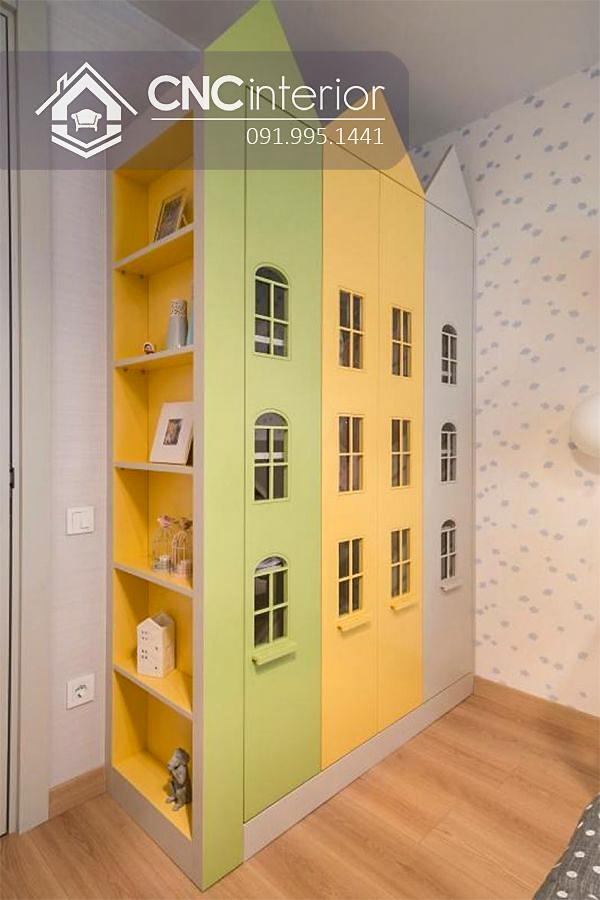 Tủ quần áo trẻ em bằng gỗ cnc 65