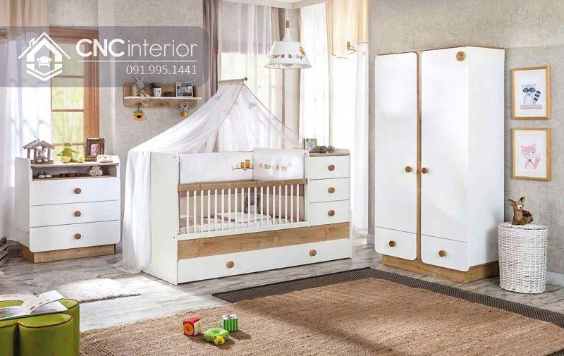 Tủ quần áo trẻ em bằng gỗ cnc 07