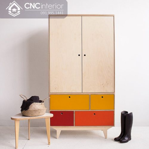 Tủ quần áo trẻ em bằng gỗ cnc 76