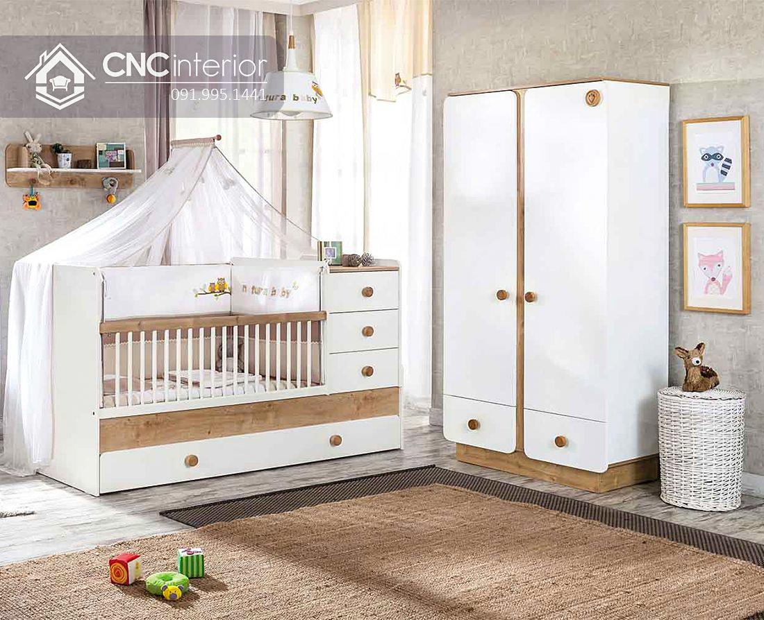 Tủ gỗ công nghiệp đựng quần áo cho trẻ em CNC 07