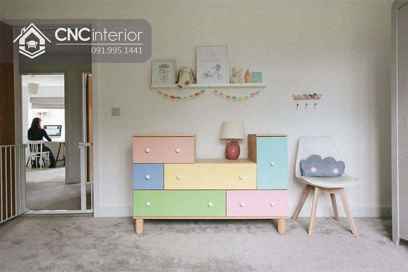 Tủ quần áo trẻ em bằng gỗ cnc 08