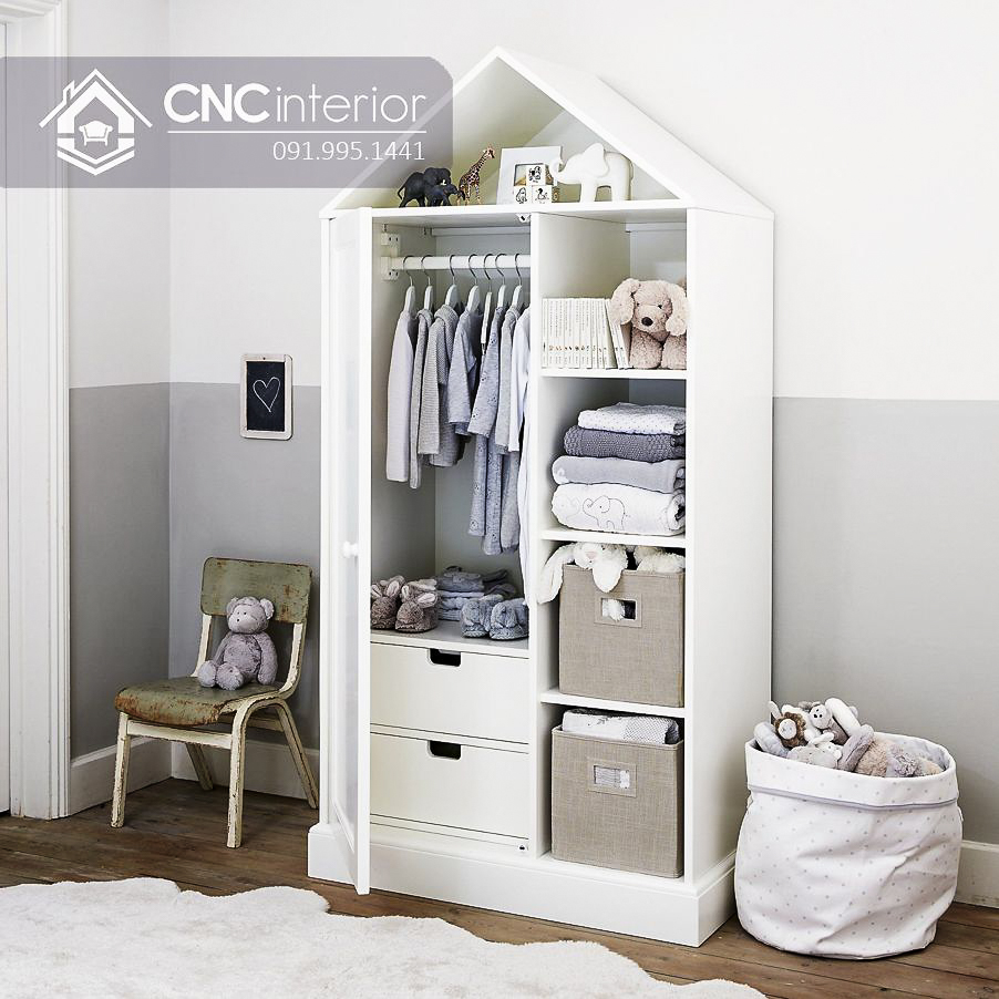 Tủ quần áo cho bé trai màu trắng CNC 10 2