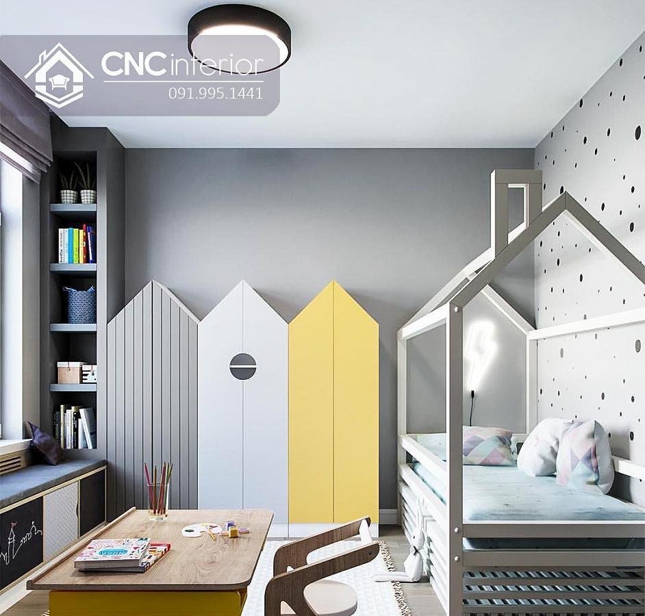 Tủ gỗ đựng quần áo trẻ em hình ngôi nhà CNC 21