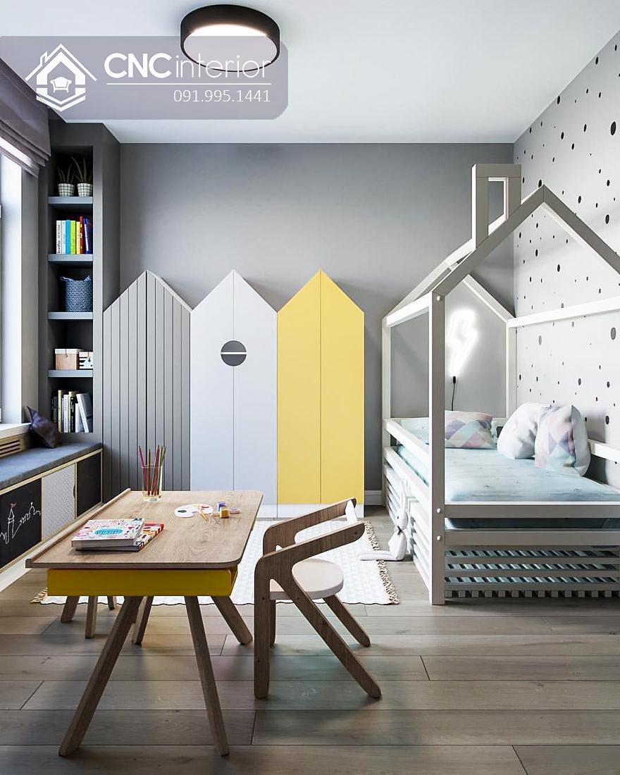 Tủ gỗ đựng quần áo cho trẻ em hình ngôi nhà CNC 21