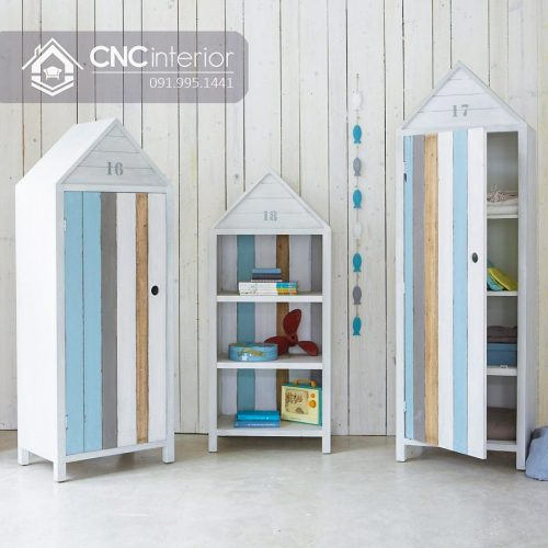 Tủ quần áo trẻ em bằng gỗ cnc 03