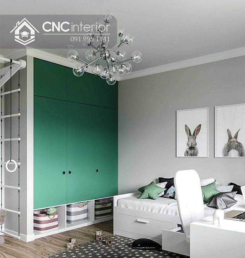 Tủ gỗ đựng quần áo kịch trần cho trẻ em CNC 27