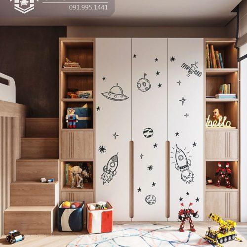 Tủ quần áo trẻ em bằng gỗ cnc 29