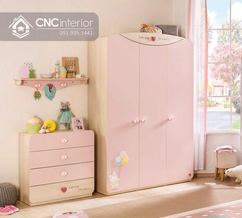 Tủ quần áo trẻ em bằng gỗ cnc 33