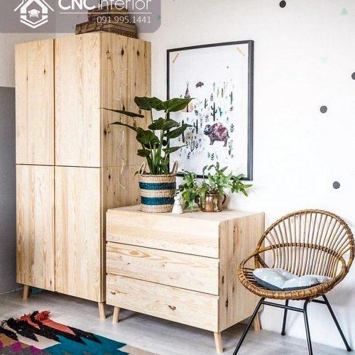 Tủ quần áo trẻ em bằng gỗ cnc 04
