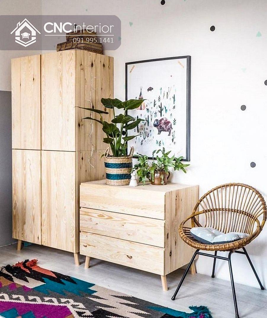 Tủ gỗ đựng quần áo cho trẻ em dạng đứng CNC 04