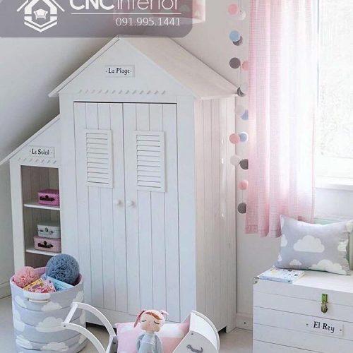 Tủ quần áo trẻ em bằng gỗ cnc 41