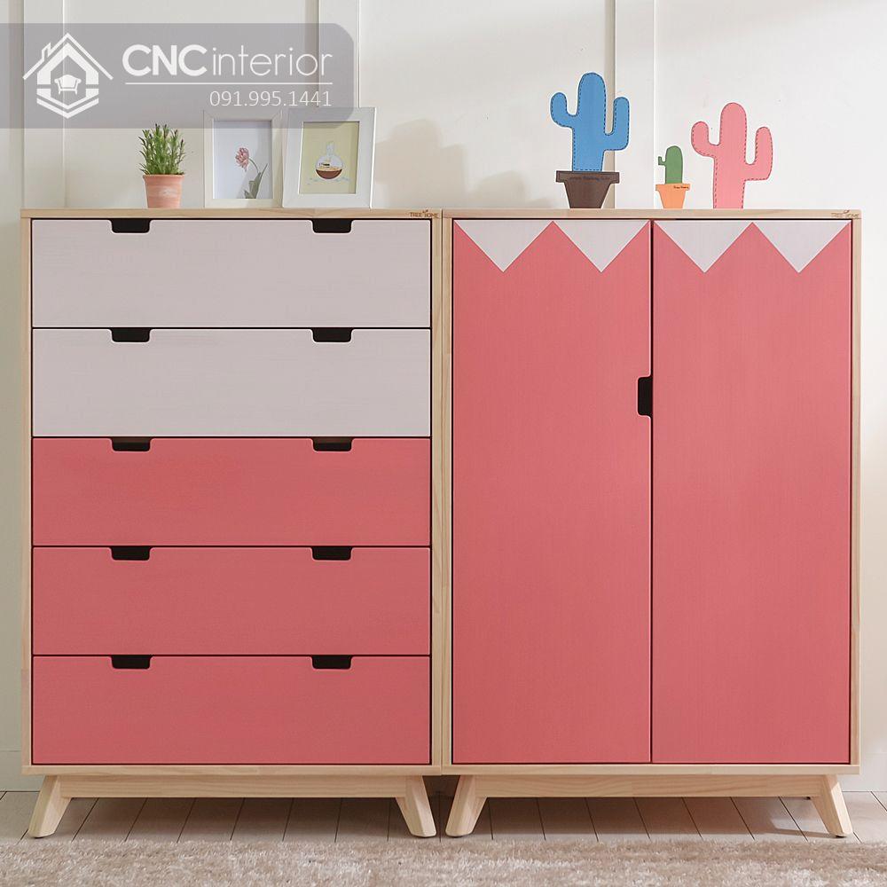 Tủ quần áo màu hồng cho bé gái CNC 12