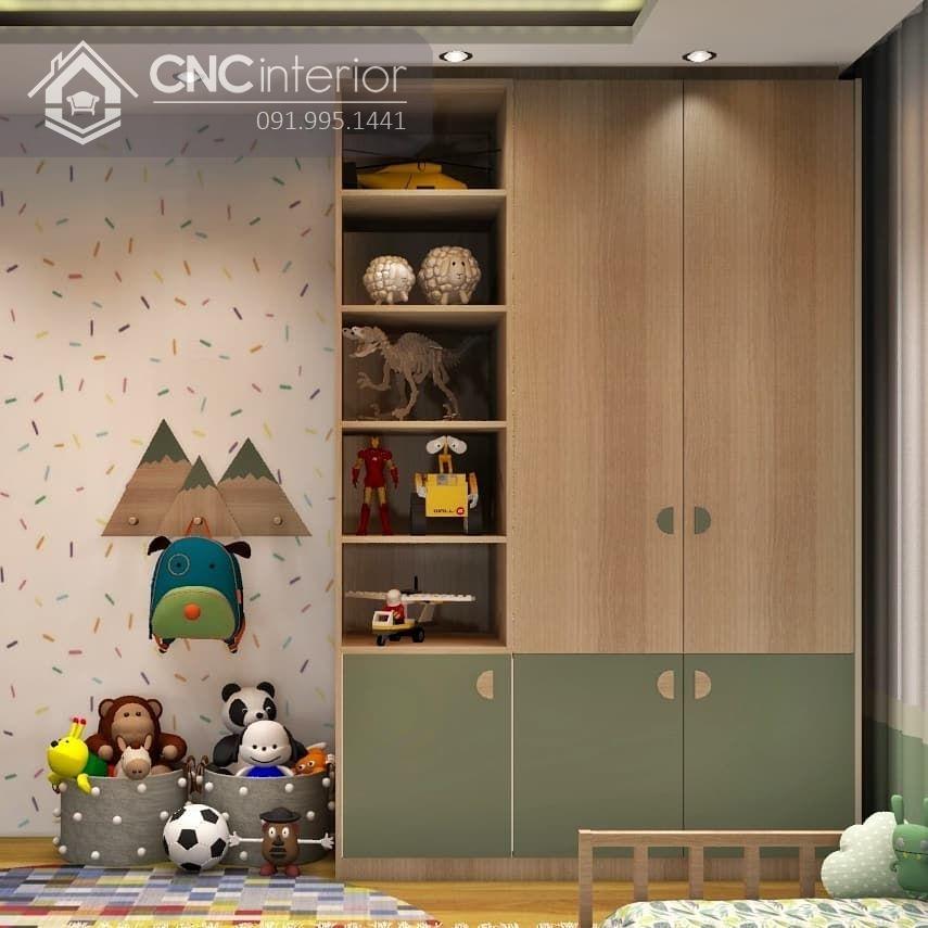 Tủ quần áo cho bé trai tích hợp kệ CNC 66