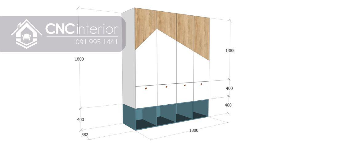 Tủ quần áo gỗ MDF bền đẹp CNC 01 - 2