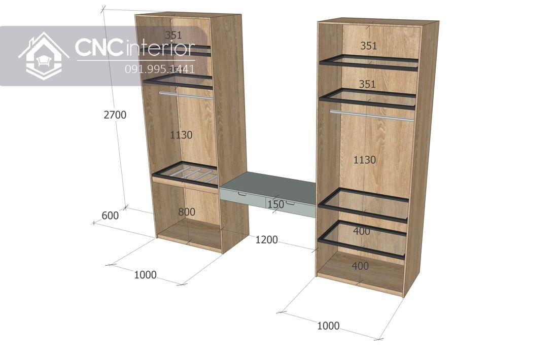 Tủ quần áo cánh kính liền bàn trang điểm sang trọng CNC 32 3