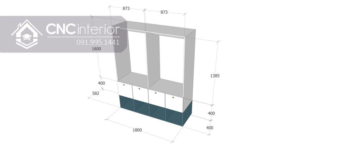 Tủ quần áo gỗ MDF bền đẹp CNC 01 - 3
