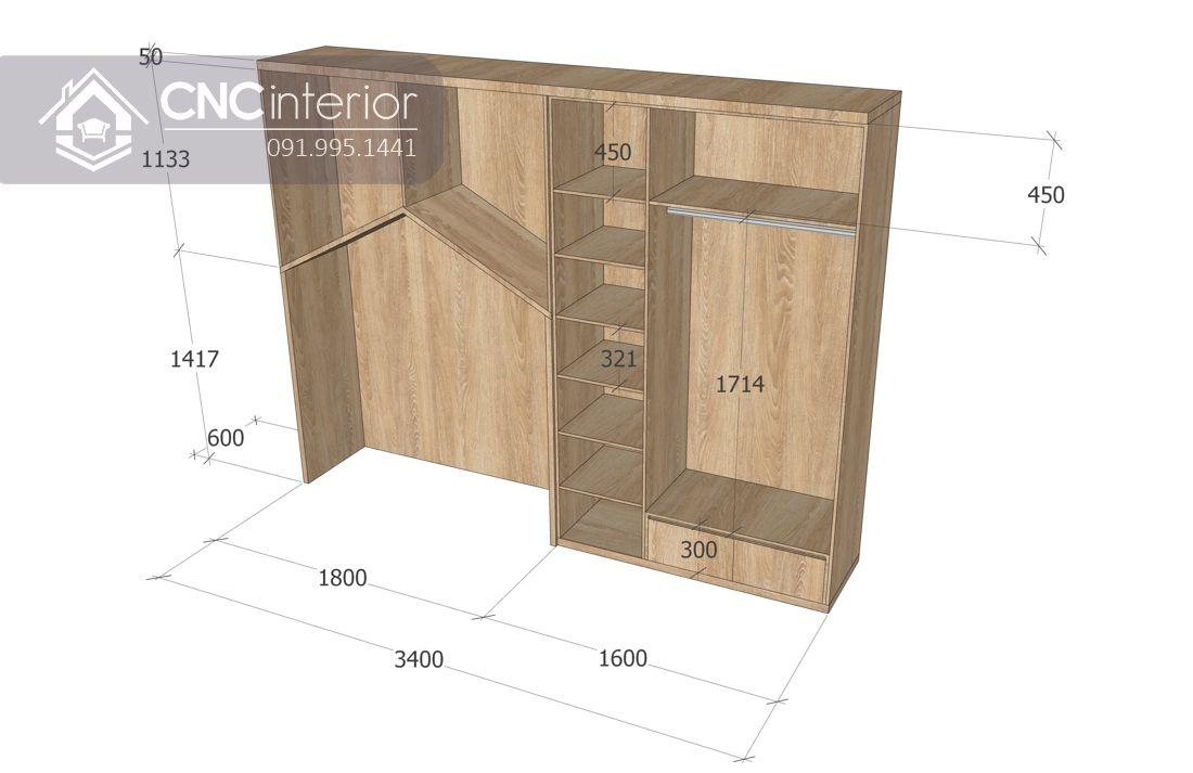 Tủ quần áo liền giường bằng gỗ công nghiệp CNC 18 3