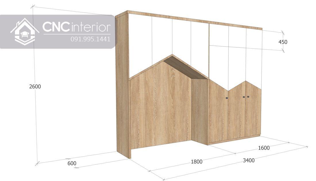 Tủ quần áo liền giường bằng gỗ công nghiệp CNC 18 2