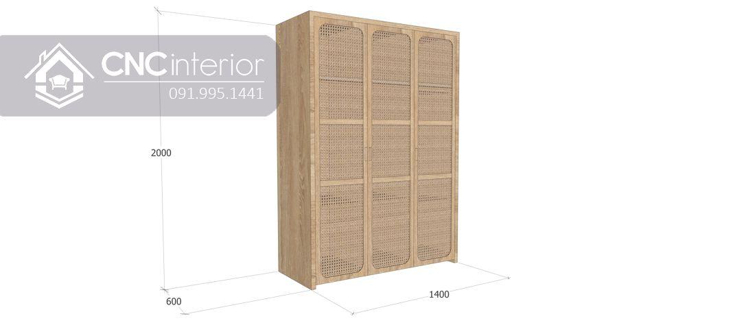 Tủ quần áo mây tre mộc mạc CNC 11 4