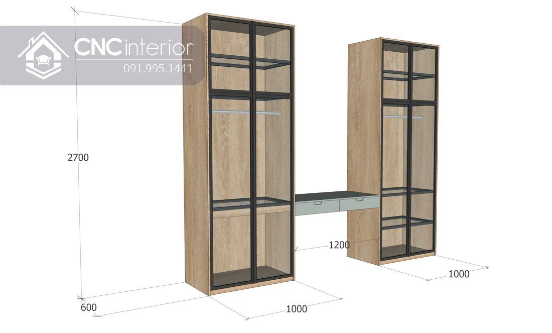 Tủ quần áo cánh kính liền bàn trang điểm sang trọng CNC 32 2