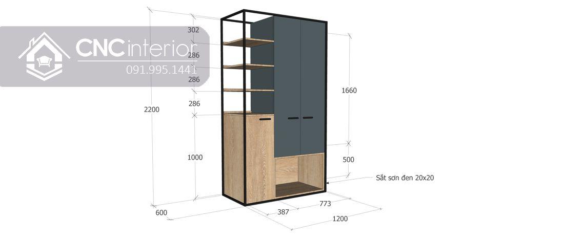 Tủ quần áo kết hợp kệ trang trí hiện đại CNC 16 2