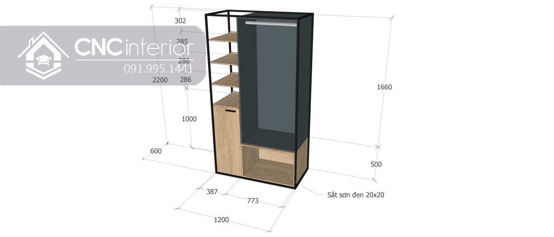 Tủ quần áo kết hợp kệ trang trí hiện đại CNC 16 3