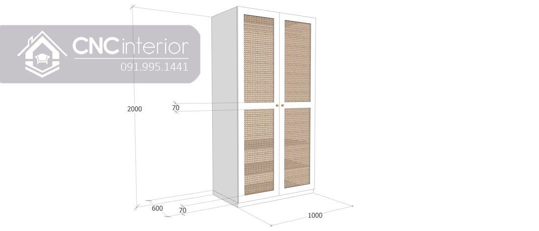 Tủ quần áo 2 buồng nhỏ gọn màu trắng đẹp CNC 15 4