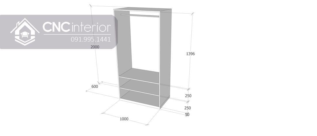 Tủ quần áo 2 buồng nhỏ gọn màu trắng đẹp CNC 15 5