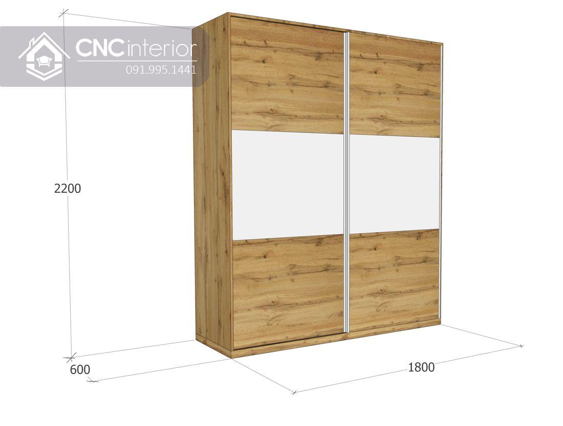 Tủ quần áo 2 cánh lùa gọn gàng hiện đại CNC 27 2
