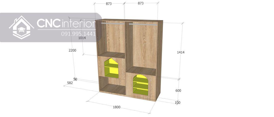 Tủ quần áo hiện đại có kệ trang trí đẹp CNC 02 4