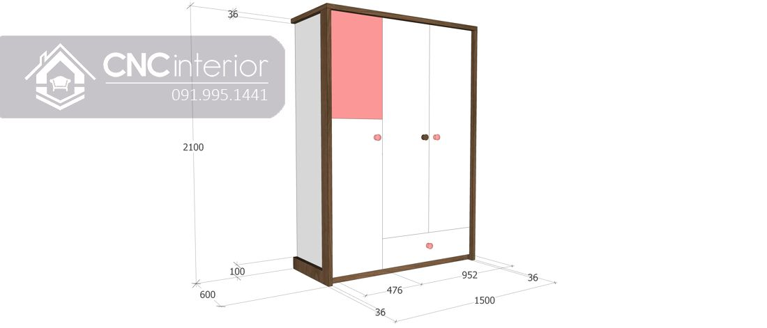 Tủ quần áo 3 cánh màu hồng dễ thương CNC 20 3