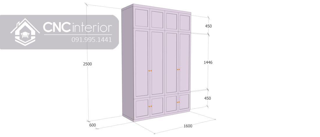 Tủ quần áo tân cổ điển màu hồng đẹp CNC 21 2