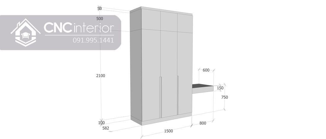 Tủ quần áo kết hợp bàn trang điểm sang trọng CNC 03 2