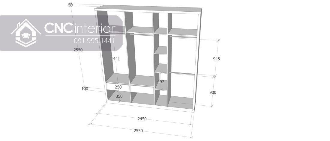 Tủ đựng quần áo gỗ công nghiệp đẹp CNC 23 3