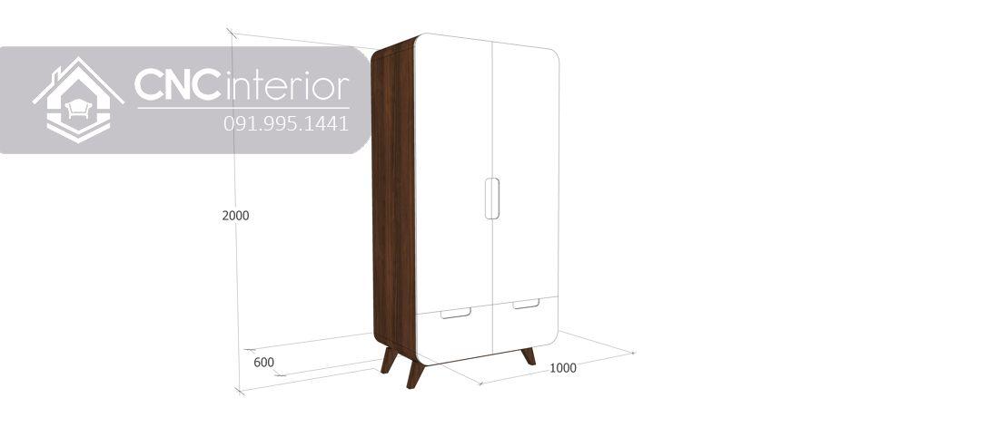 Tủ quần áo 2 buồng hiện đại nhỏ gọn CNC 30 2