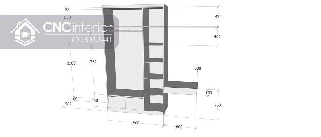 Tủ quần áo kết hợp bàn trang điểm sang trọng CNC 03 3