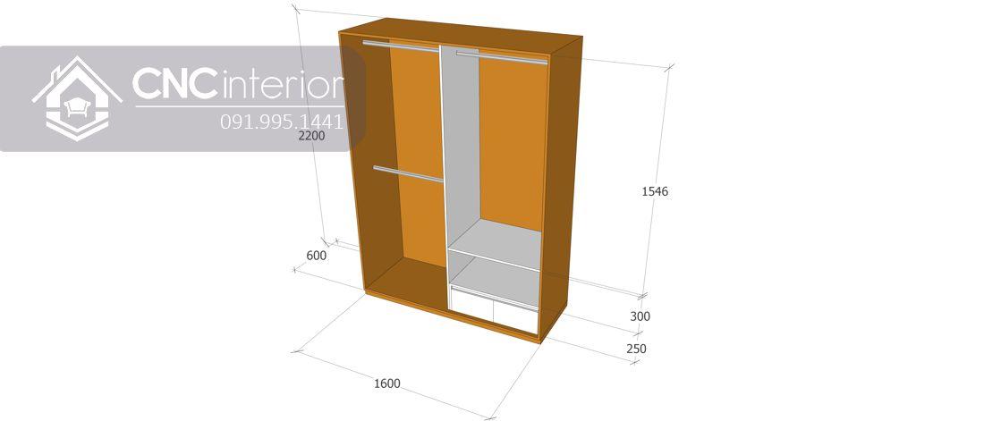 Tủ quần áo 2 buồng cánh lùa sang trọng CNC 33 3